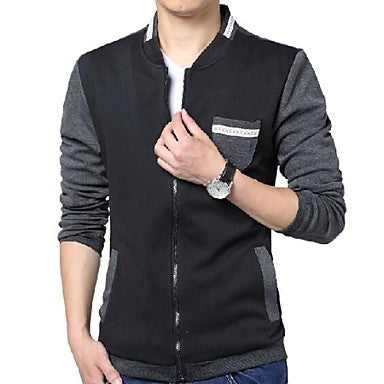Men's Jacket Knitted Collar Stitching