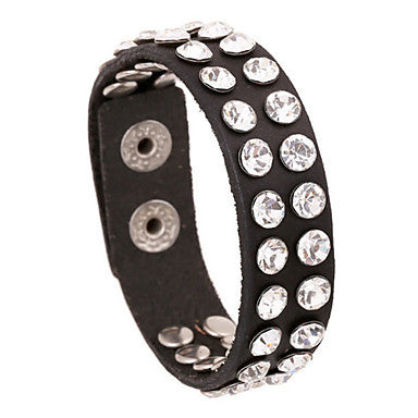 European Diamate 20cm Men's Black Leather Leather Bracelet(1 Pc)