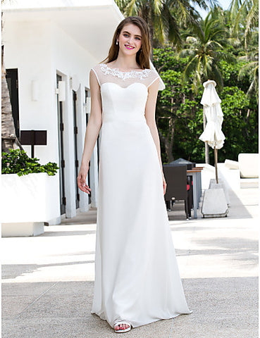 A-line Scoop Sweep/Brush Train Chiffon And Tulle Wedding Dress (788845)
