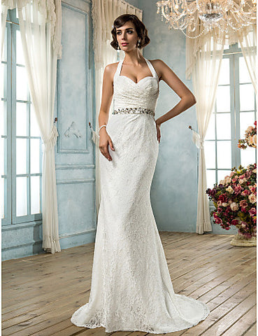 Wedding Dress Trumpet Mermaid Sweep Brush Train Lace Sweetheart Halter With Satin and Crystal Detailing Sash