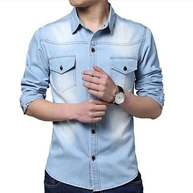 Men's Classic Fashion Washed Denim Long Sleeved Shirt