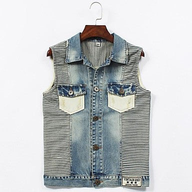 Men's Turn Down Collar Sleeveless Striped Casual Vest Coats