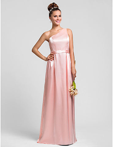 Sheath/Column One Shoulder Floor-length Sash/Ribbon Charmeuse Bridesmaid Dress