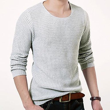 Men's Round Collar Korean Style Long Sleeve Sweater