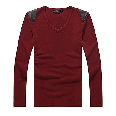 Men's V Neck Long Sleeve Patchwork Casual Sweaters (More Colors Available)