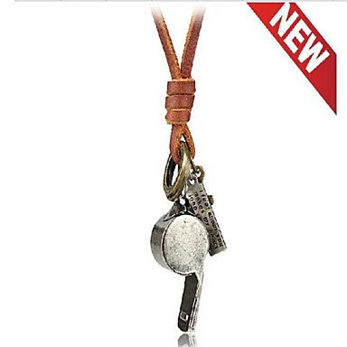Fashion Retro Whistle Brown Leather Alloy Pendant Necklace(1 Pc)