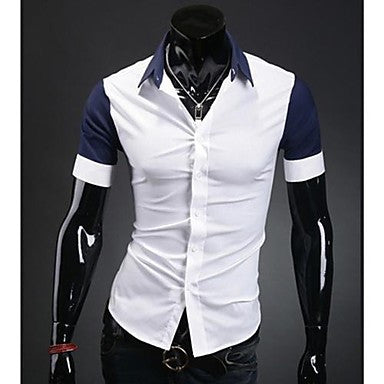 Men's Contrast Color Casual Short Sleeve Shirt