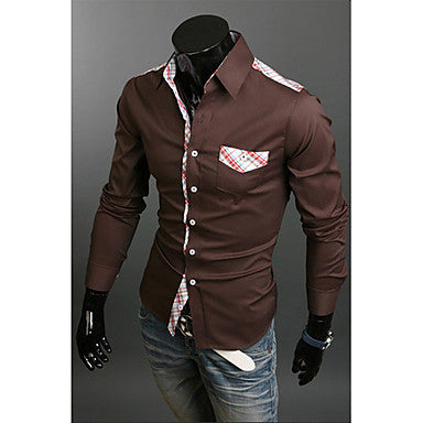 Men's Fashion Stripes Splicing Shirt