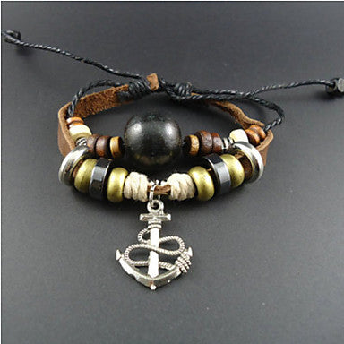 Men's Anchor Leather Charm Bracelet