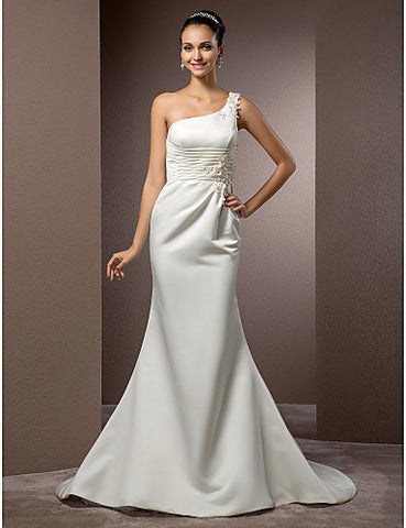 Trumpet/Mermaid One Shoulder Court Train Satin Wedding Dress