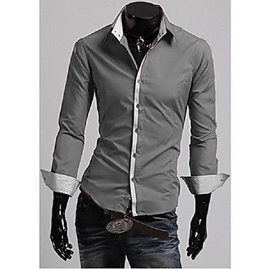 Men's Personality Stripe Splicing Shirt