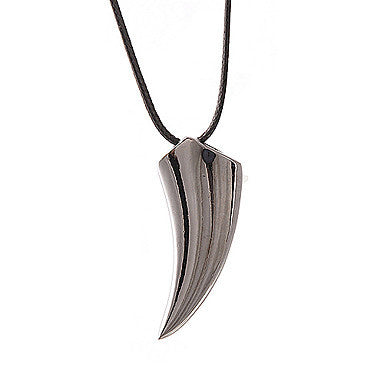 Fashion (Ivory Pendant) Black Titanium Steel Pendant Necklace(Black) (1 Pc)
