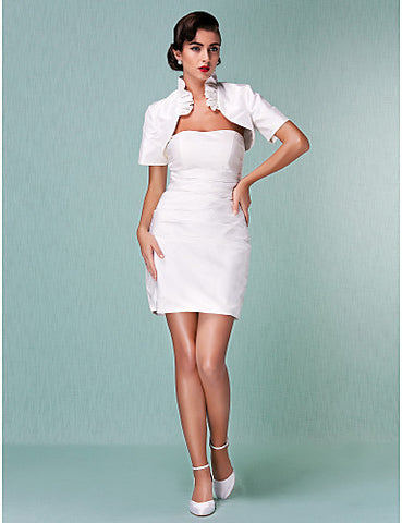 Sheath / Column Sweetheart Short / Mini T-shirt Taffeta Wedding Dress