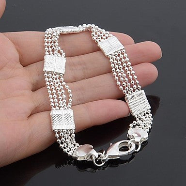 Classic Fashion 925 Silver Plated Flat Men's Bracelet 23CM (1PC)