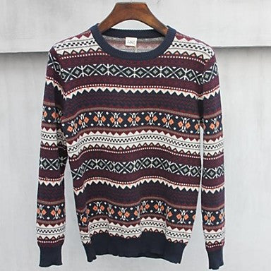 Men's Crew Neck Multi - Color Jacquard Fashion Traveling Long Sleeve Sweater