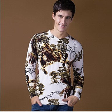 Men's V-neck pattern Hot Classic Casual Long-sleeved Sweaters