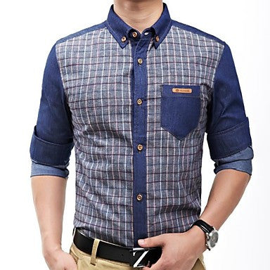 Men's Fashion Stitching Jeans Plaid Long-sleeve Shirt