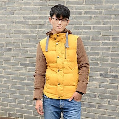 Men's Hooded Long Sleeve Contrast Color Casual Down Jacket