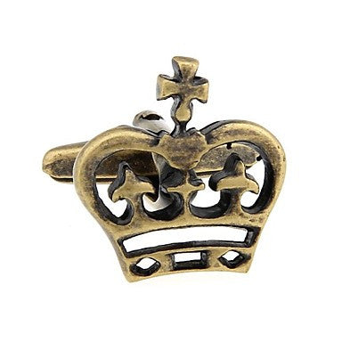 Antique Brass the Royal Crown Cufflinks Cuff Links NIB