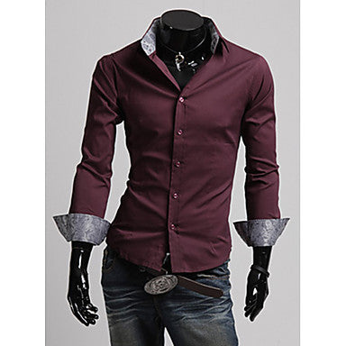 Men's Pure Color Slim Shirt