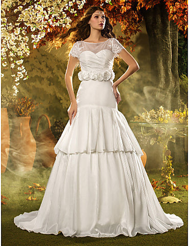 A-line Bateau Sweep/Brush Train Taffeta Wedding Dress (631193)