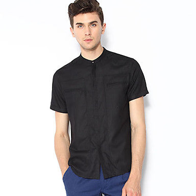 Men's Round Collar Chinese Style Short Sleeve Shirts