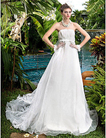 A-line Princess Strapless Court Train Organza Wedding Dress (722150)