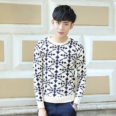 Men's Round Collar Long Sleeve Casual Sweaters