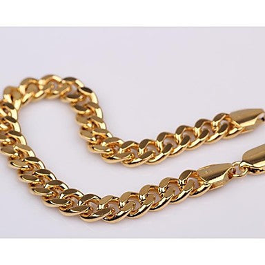Fashion 24K Yellow Gold Filled Mens Womens Chain Bracelet Solid Curb Chain 8.46""
