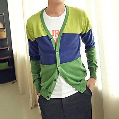 Men's Autumn and winter hit color V collar and White Knit Cardigan slim knit cardigan