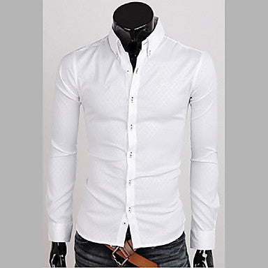 Men's Stand Collar Diamond Lattice Long Sleeve Shirt