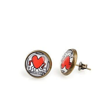 Fashion Round cartoon heart Antique Bronze Stud Earrings