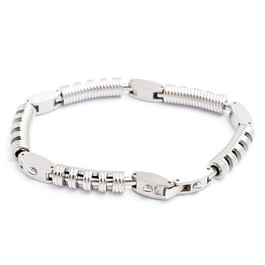 Fashion Men's Silvery Titanium Steel Spring Shape Bracelet