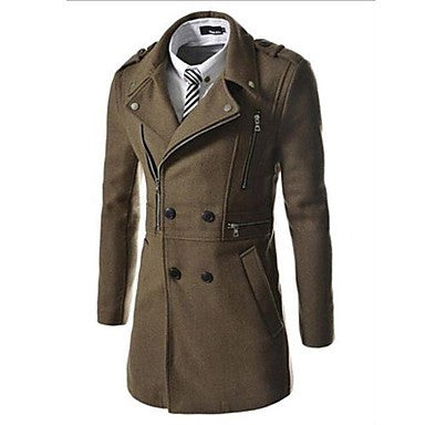 Men's New Tweed Long Paragraph Multiple Zippers Long Sleeve Overcoat