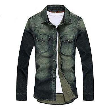 Men's Square Collar Casual Slim Denim Coat