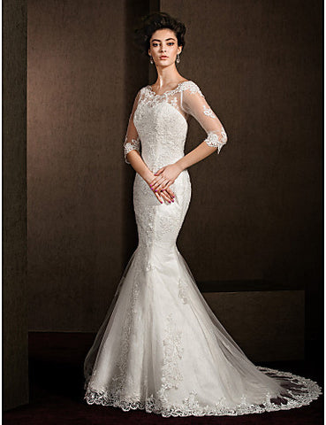 Trumpet/Mermaid Scoop Court Train Lace Wedding Dress (1798934)