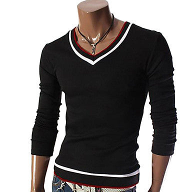 Men's V Neck Solid Color Casual Long Sleeve Sweater Shirt
