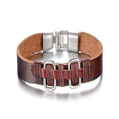 Fashion Men's Brown And Red Alloy Leather Bracelet(1 Pc)