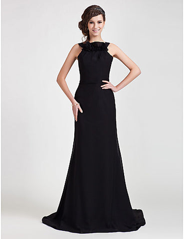 Sheath/Column Straps Sweep/ Brush Train Chiffon Evening Dress