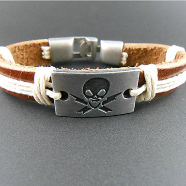 Fashion Rectangle Skull 20cm Men's Multicolor Leather Wrap Bracelet(1 Pc)