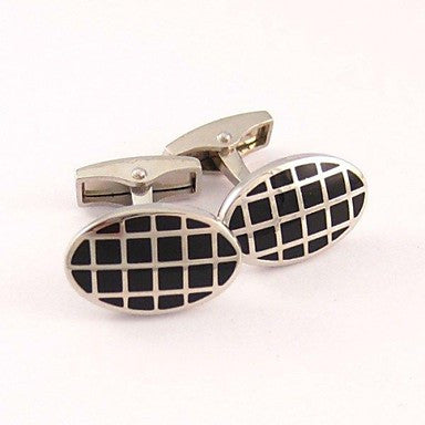 Stylish Oval Checked Cufflinks For Men (1pair)