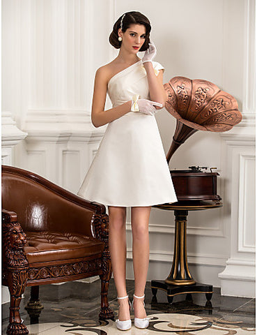Wedding Dress A Line Knee Length Satin One Shoulder Little White With Bow