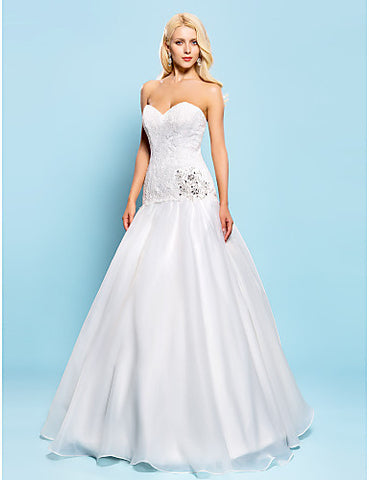 Fit and Flare Sweetheart Floor-length Lace And Organza Wedding Dress