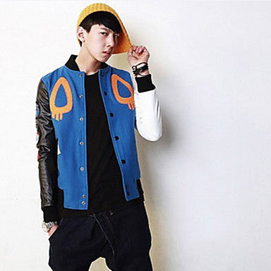 Men's Personality Contrast Color Splicing Sleeve Jacket Coat