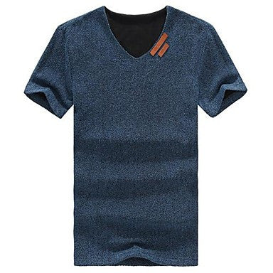 Men's V-neck Leisure Pure Color T-shirt with Short Sleeves