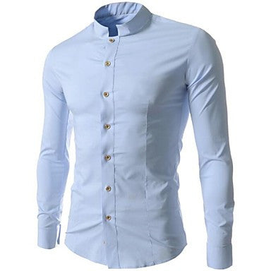 Men's Leisure Small Collar Cultivate One's Morality Long Sleeve Shirt