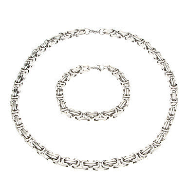 European Thick Silver Titanium Steel Chain Necklace (1 Pc)