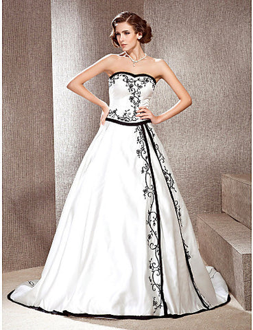 A-line Sweetheart Court Train Satin Wedding Dress with Split Front