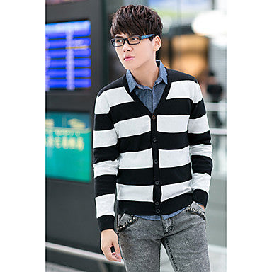 Men's Fashion False Two Piece Cardigan Sweater