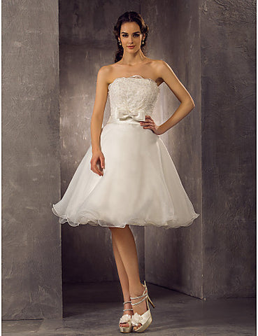 A-line Princess Scalloped-Edge Knee-length Organza And Lace Wedding Dress (710781)